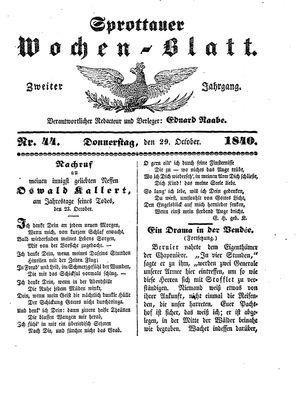 Sprottauer Wochenblatt vom 29.10.1840