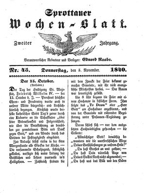Sprottauer Wochenblatt vom 05.11.1840
