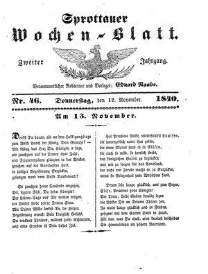 Sprottauer Wochenblatt on Nov 12, 1840