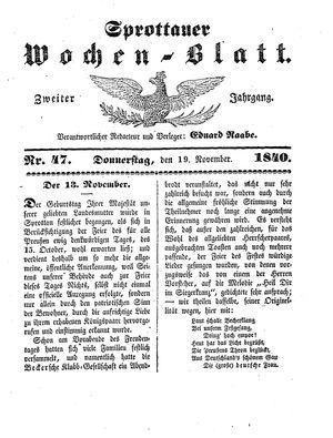 Sprottauer Wochenblatt vom 19.11.1840