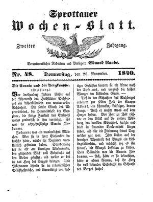 Sprottauer Wochenblatt vom 26.11.1840