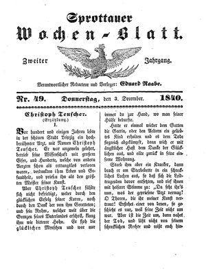 Sprottauer Wochenblatt vom 03.12.1840