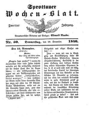 Sprottauer Wochenblatt vom 10.12.1840