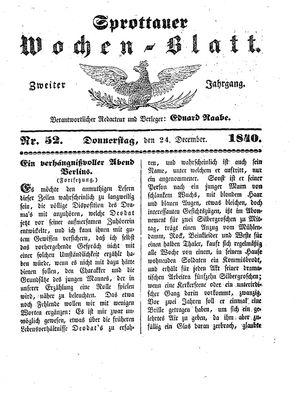 Sprottauer Wochenblatt vom 24.12.1840