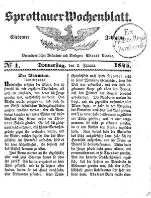 Sprottauer Wochenblatt vom 02.01.1845