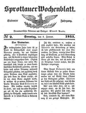 Sprottauer Wochenblatt vom 05.01.1845