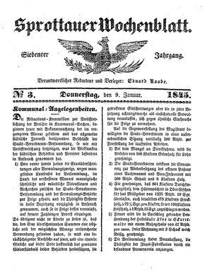 Sprottauer Wochenblatt vom 09.01.1845
