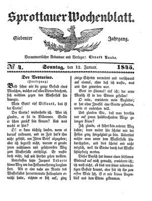Sprottauer Wochenblatt vom 12.01.1845