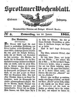 Sprottauer Wochenblatt vom 16.01.1845