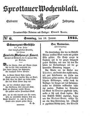 Sprottauer Wochenblatt vom 19.01.1845