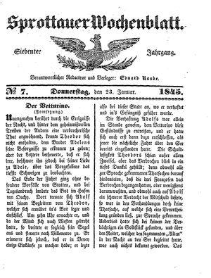 Sprottauer Wochenblatt vom 23.01.1845