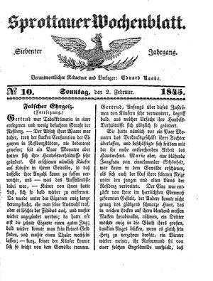 Sprottauer Wochenblatt vom 02.02.1845