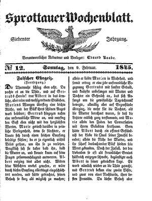 Sprottauer Wochenblatt vom 09.02.1845