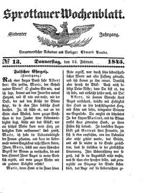 Sprottauer Wochenblatt vom 13.02.1845