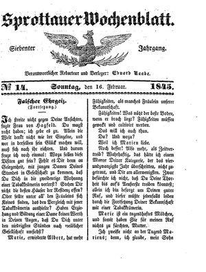 Sprottauer Wochenblatt vom 16.02.1845