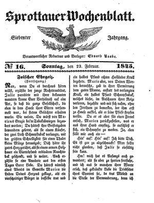 Sprottauer Wochenblatt vom 23.02.1845