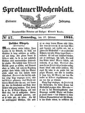 Sprottauer Wochenblatt vom 27.02.1845
