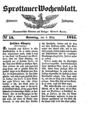 Sprottauer Wochenblatt vom 02.03.1845