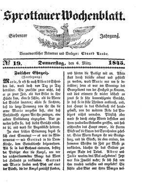 Sprottauer Wochenblatt vom 06.03.1845