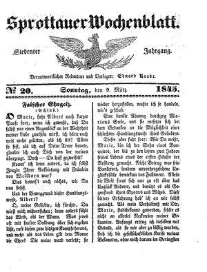 Sprottauer Wochenblatt vom 09.03.1845