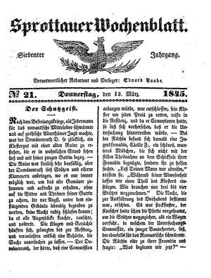 Sprottauer Wochenblatt vom 13.03.1845