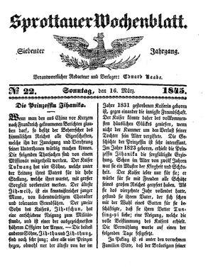 Sprottauer Wochenblatt vom 16.03.1845