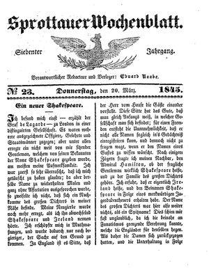 Sprottauer Wochenblatt vom 20.03.1845