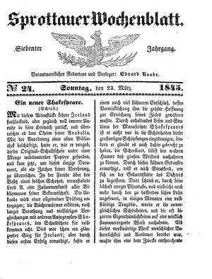Sprottauer Wochenblatt vom 23.03.1845