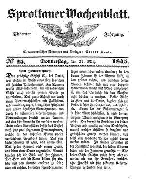 Sprottauer Wochenblatt vom 27.03.1845