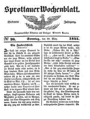 Sprottauer Wochenblatt vom 30.03.1845