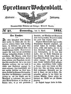 Sprottauer Wochenblatt vom 03.04.1845