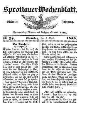 Sprottauer Wochenblatt vom 06.04.1845