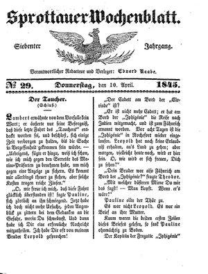 Sprottauer Wochenblatt vom 10.04.1845