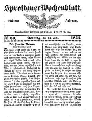 Sprottauer Wochenblatt vom 13.04.1845