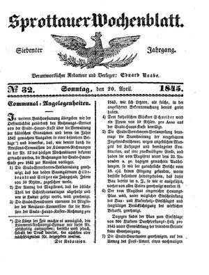 Sprottauer Wochenblatt vom 20.04.1845