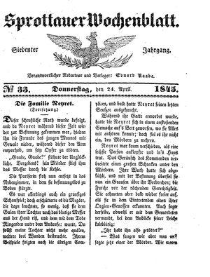 Sprottauer Wochenblatt vom 24.04.1845