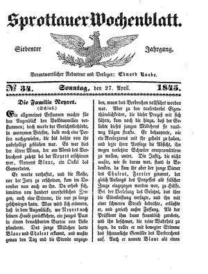 Sprottauer Wochenblatt vom 27.04.1845
