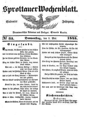 Sprottauer Wochenblatt on May 1, 1845