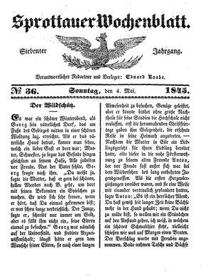 Sprottauer Wochenblatt vom 04.05.1845