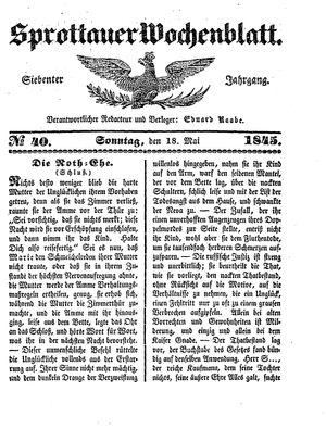 Sprottauer Wochenblatt vom 18.05.1845