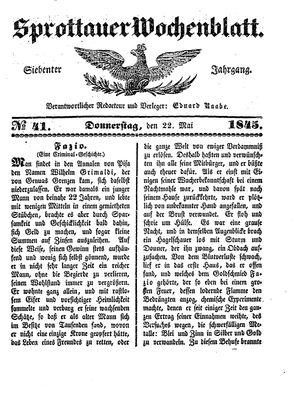 Sprottauer Wochenblatt on May 22, 1845