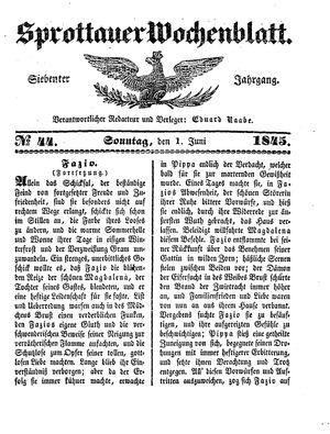Sprottauer Wochenblatt vom 01.06.1845