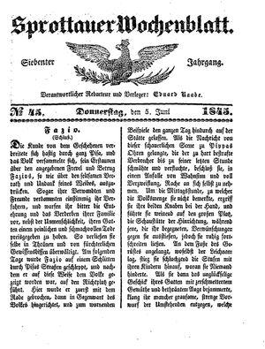 Sprottauer Wochenblatt vom 05.06.1845