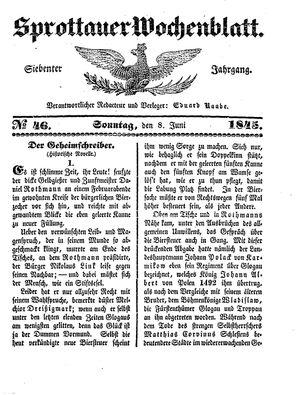 Sprottauer Wochenblatt vom 08.06.1845