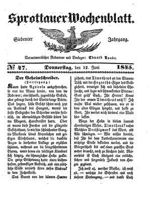 Sprottauer Wochenblatt vom 12.06.1845