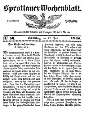 Sprottauer Wochenblatt on Jun 22, 1845