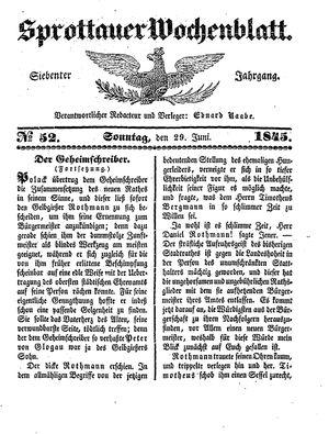 Sprottauer Wochenblatt vom 29.06.1845