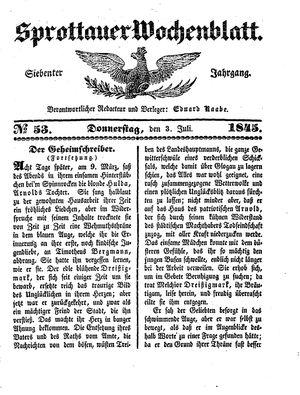 Sprottauer Wochenblatt vom 03.07.1845