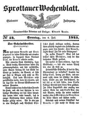 Sprottauer Wochenblatt vom 06.07.1845