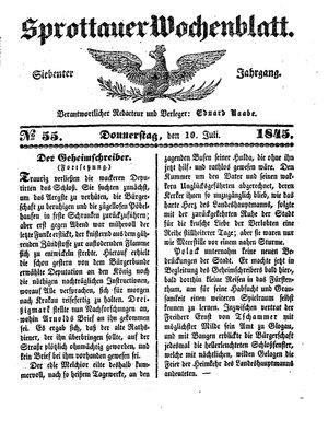 Sprottauer Wochenblatt vom 10.07.1845